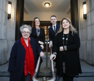 Garry Hynes, Artistic Director, Druid Theatre; Katherine Licken, Secretary General, Department of Culture, Heritage & Gaeltacht; Andrew Hetherington, Chief Executive, Business to Arts; Fiona Clark, Chief Executive, Cork Film Festival at the announcement of the organisations selected to participate in Fundraising Fellowship, Ireland.