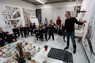 Mark O'Kelly (Artist) with school children from Ringsend area participating in the  'Creative Generations' Programme.