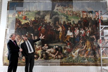 Brendan Murphy of Allianz Ireland and Stuart McLaughlin of Business to Arts at The National Gallery of Ireland, where Daniel Maclise's work 'The Marriage of Strongbow and Aoife' is being conserved as part of the Bank of America Merrill Lynch Art Conservation Programme