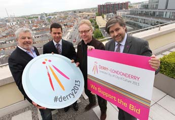 Caption : John McColgan, US Envoy to Northern Ireland Declan Kelly, Paul Brady and Stuart McLaughlin of Business to Arts, at an advocacy event in support of the Derry-Londonderry City of Culture 2013 bid hosted by Mason Hayes+Curran. Photo by Robbie Reynolds