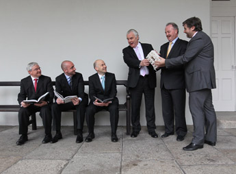 Caption: Peter Keegan, Bank of America Merrill Lynch; David Douglas, ebow; John Ives, BMW Ireland; Eoin McGonigal, IMMA; Brendan Murphy, Allianz Ireland and Stuart McLaughlin, Business to Arts at the announcement of the winners of the 2010 Allianz Business to Arts Awards at the Irish Museum of Modern Art.