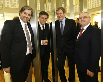 L-R : Stuart McLaughlin – Business to Arts, Gabriel Byrne, Declan Moylan - Mason Hayes+Curran, Peter Keegan - Bank of America Merrill Lynch