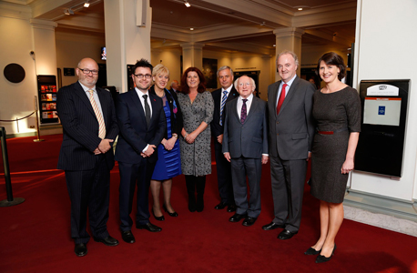 Paul O'Kane, Gerard McNaughton, Minister Heather Humphreys TD, artist Grainne Watts, Michael Owens, President Michael D. Higgins, Brendan Murphy, and Keelin Shanley at the Allianz Business to Arts Awards 2014 at the National Concert Hall