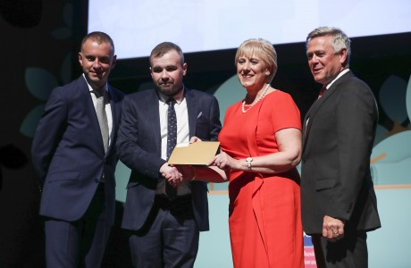 2019 Winner - Cllr. Anthony Flynn on behalf of Subset with Sean McGrath, CEO, Allianz Ireland, Heather Humphreys, TD Minister for Business, Enterprise, and Innovation and Andrew Hetherington, CEO, Business to Arts