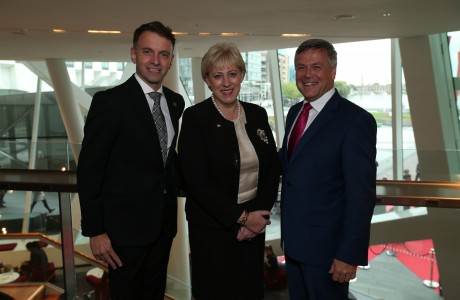Andrew Hetherington, CEO, Business to Arts, Minister Heather Humphreys and Sean McGrath CEO, Allianz Ireland at the 2016 Allianz Business to Arts Awards at the Bord Gáis Energy Theatre
