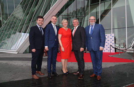 Heather Humphreys, TD, Minister for Business, Enterprise, and Innovation with Ger McNaughton, Retail Director, TileStyle; Andrew Hetherington, CEO, Business to Arts; Sean McGrath, CEO, Allianz Ireland; Paul O Kane, Chief Communications Officer, daa at the 2019 Allianz Business to Arts Awards at the Bord Gáis Energy Theatre