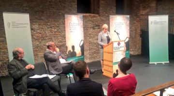 Minister for Arts, Heritage and the Gaeltacht, Heather Humphreys TD during the launch of Culture 2025 Discussion Document at Smock Alley Theatre.