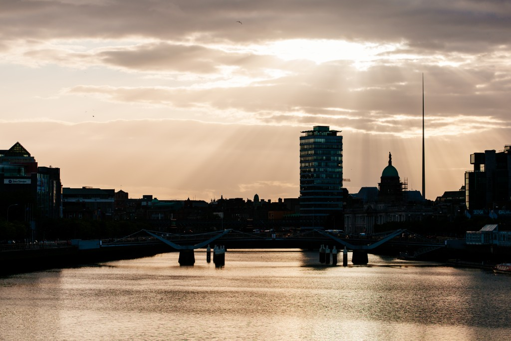 Dusk looking West up Liffey