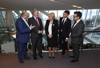 Paul O'Kane, daa; Brendan Murphy, Allianz; Minister Heather Humphreys TD; Andrew Hetherington, Business to Arts; and Gerard McNaughton, Tilestyle
