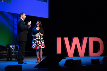 Pauric Dempsey (Royal Irish Academy) and Michelle D. Cullen (Accenture) presenting the Women On Walls project at the 2016 International Women's Day.