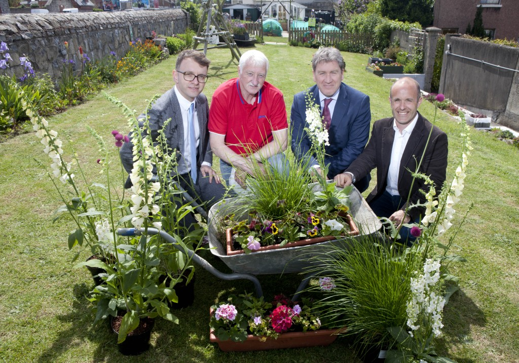 Savills Sponsorship of Bloom, photocall in the 4th Sea Scouts Garden in Derrynane Gardens off Bath Avenue Andrew Hetherington, Business to Arts Joe McCann, Bath Avenue Community Gardner Angus Potterton, Managing Director Ireland, Savills Andrew Christopher Dunne, Garden Designer Iain White/Fennell Photography Fennell Photography 2016
