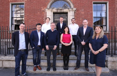 2017 Judging Panel: Colin Martin RHA, Gerard McNaughton, Cathy Burke, Ray Yeates, Marie Davis, Gavin McLoughlin, Robert McEvoy, Gavin McLoughlin, Fiona Clark. Also pictured, Andrew Hetherington, Chief Executive, Business to Arts