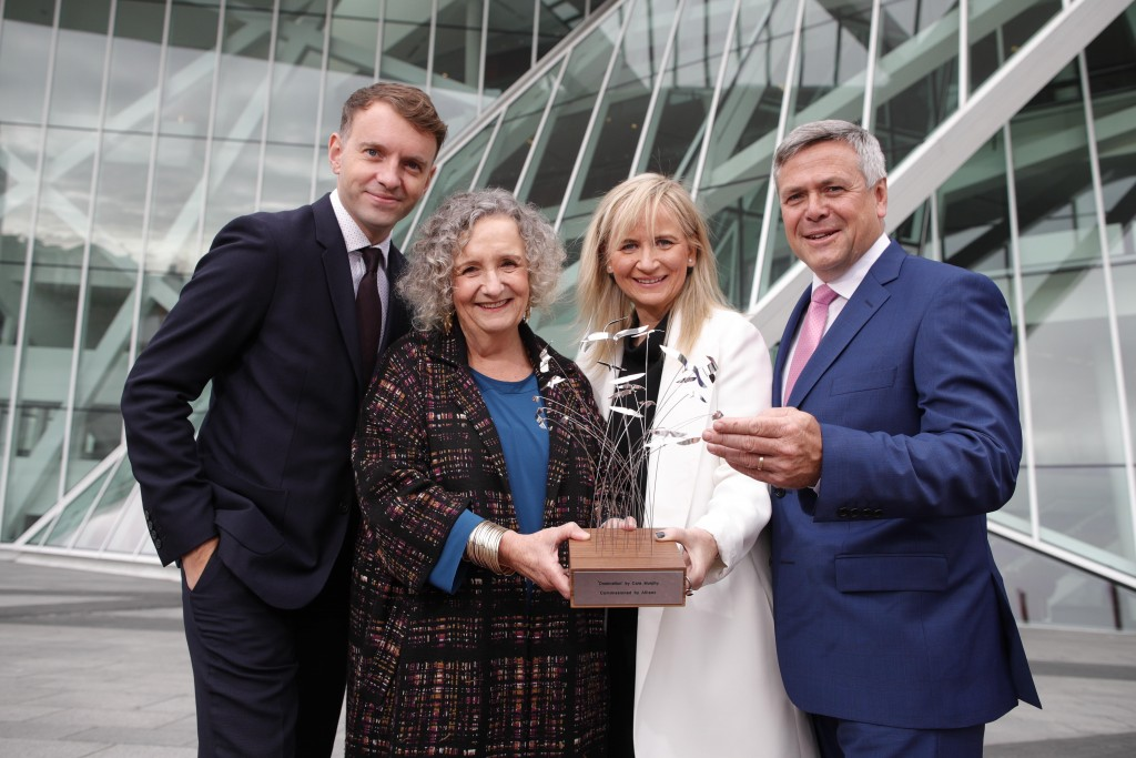 From Left to right, Dee Forbes, Director General of RTE, Sean McGrath, CEO of Allianz Ireland and Andrew Hetherington, CEO of Business to Arts pose for the 2016 Allianz Business to Arts Awards. RTÉ received the 25th Anniversary Special Award from Allianz and Business to Arts in recognition of its long-term contribution to the development, support and promotion of the arts during the 25-year history of the awards. Picture Conor McCabe Photography.