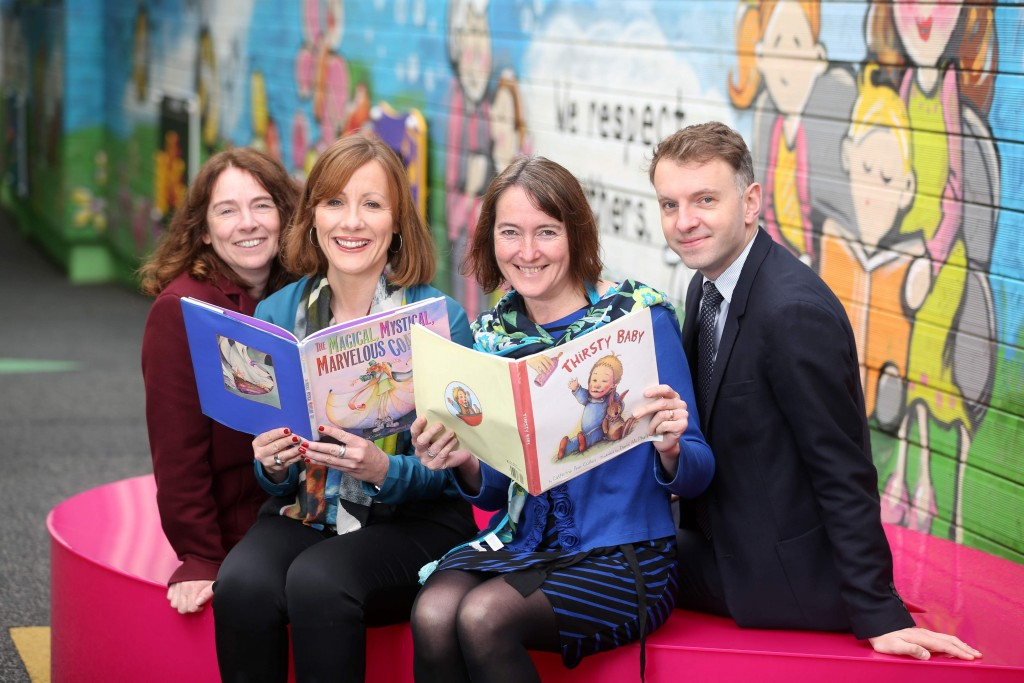 From Left to Right: Sinead Connolly, Dublin City Council, Sinead Smith, Corporate Responsibility Manager, A&L Goodbody Catherine Ann Cullen, Writer in Residence & Andrew Hetherington, Business to Arts at St. Joseph's National School in East Wall Picture Jason Clarke