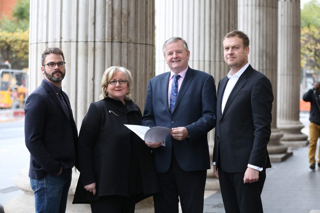 Kris Nelson, Director, Tiger Dublin Fringe Festival, Anna O Sullivan, Director, Butler Gallery, Damien O Neill, Head of Marketing, Allianz and Mark Deering, Director, Sky Ireland in GPO Witness History to launch the Allianz Business to Arts 2016 Arts, Festivals and Music Sponsorship Report. ESB/Electric Ireland and Bord Gáis Energy are highlighted as brands who continue to demonstrate best-practices in their arts, festivals and music sponsorships. Picture Jason Clarke.