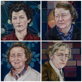 Accenture 'Women on Walls' 2016 portrait commission. From Top LtoR: Shelia Tinney & Francoise Henry From Bottom LtoR: Phyllis Clinch & Eleanor Knott. Artist: Vera