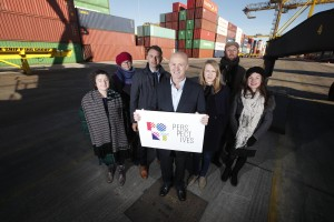 Port Perspectives Commissioned artists. Pictured (l-r) at Dublin Port are the first Port Perspectives artists commissioned to create public artworks, Cliona Harmey, Sheelagh Broderick, Business to Arts CEO Andrew Hetherington, Dublin Port CEO Eamonn O'Reilly, Alice Butler, Daniel Fitzpatrick, Silvia Loeffler.