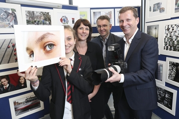 Pictured was Garry Ferguson, Managing Partner, Walkers, Walkers photographer in Residence, Kate Nolan and Andrew Hetherington, Chief Executive, Business to Arts with transition year student Genoveva Nemes (16) of CBS Westland Row at the launch of photographic exhibition titled 'Docklands Story Walks'. Picture Conor McCabe Photography.