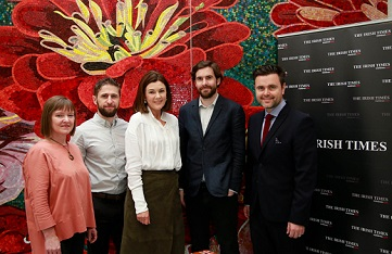 Launching the new partnership in TileStyle were (from left): Anne Clarke, and Aaron Monaghan, both former ITITA winners; Ruth McCarthy, Marketing Manager at TileStyle; Laurence Mackin, Arts Editor of The Irish Times and Gerard McNaughton, Retail Director of TileStyle. Photograph: Nick Bradshaw.