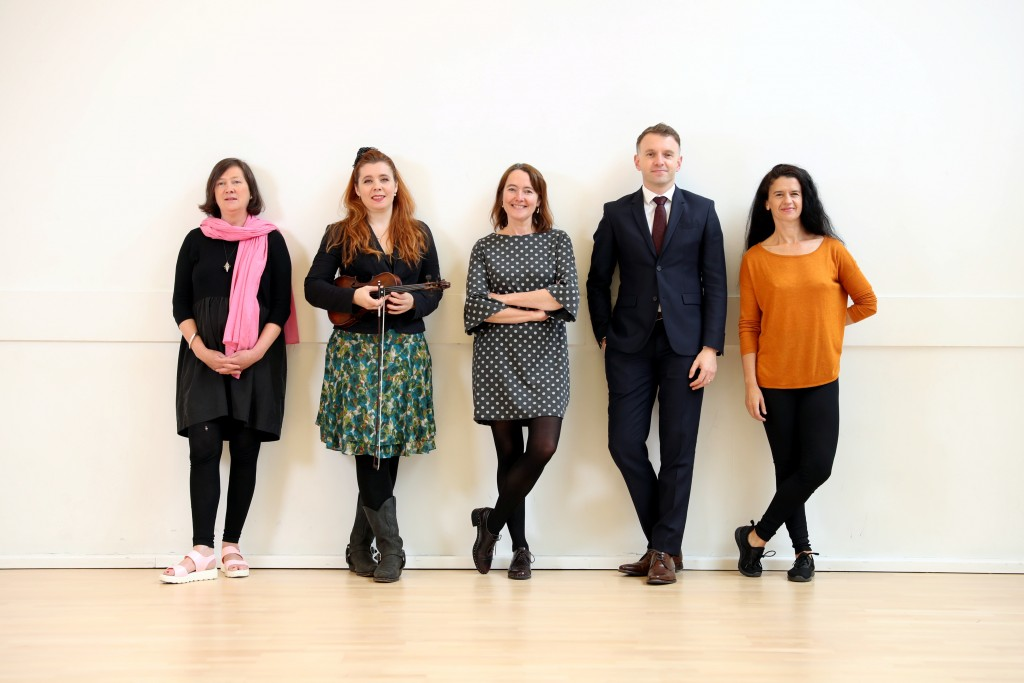Visual artist Martina Galvin, musician Imogen Gunner, writer Catherine Ann Cullen & choreographer Monica Munoz with Andrew Hetherington, Chief Executive, Business to Arts at DanceHouse on Foley Street for the announcement of the recipients of the 2017 Small Grants scheme under the Docklands Arts Fund, a partnership between Business to Arts, Dublin City Council and Docklands local businesses and individuals.