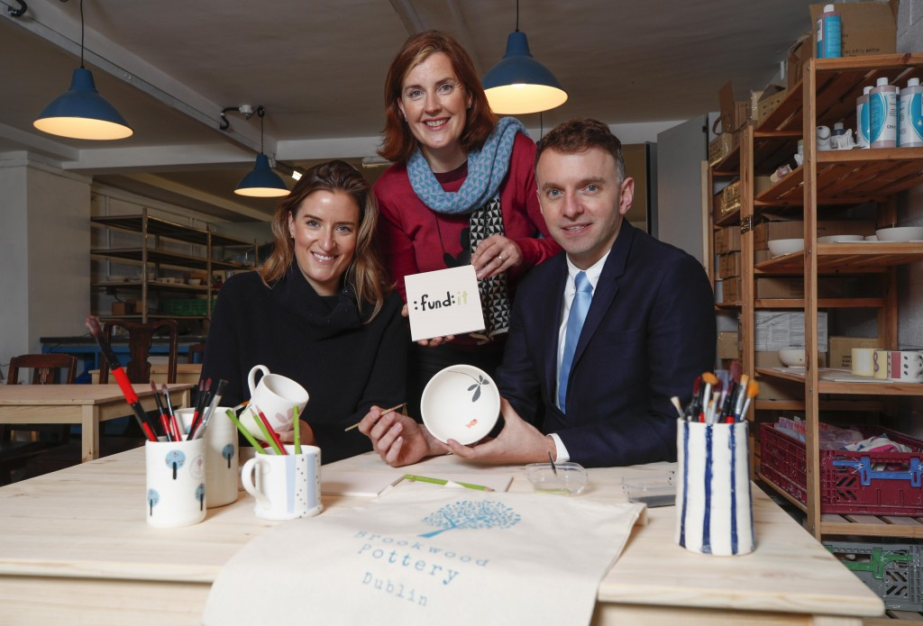 Lesley Tully, Head of Design Thinking, Bank of Ireland and Andrew Hetherington, Chief Executive, Business to Arts & Fund it with Elaine Fallon, founder, Brookwood Pottery at the newly opened Brookwood Pottery studio, a 2017 successful Fundit.ie project raising €16,600. Today marks the second year of Fundit.ie & Bank of Ireland's partnership with the launch of three new categories on fundit.ie Project creators can now submit projects related to enterprise, heritage & environment. See fundit.ie for details. Picture Conor McCabe Photography. MEDIA CONTACT : helen@businesstoarts.ie