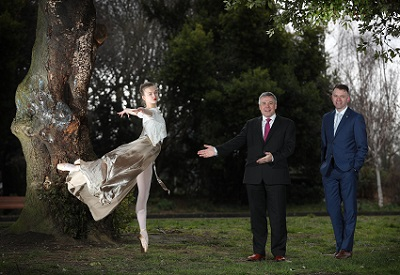 Kerrie Patten, dancer with Sean McGrath, Chief Executive, Allianz & Andrew Hetherington