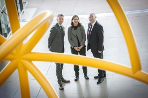 Business to Arts Chief Executive Andrew Hetherington, NCAD Director Sarah Glennie and Dublin Airport Managing Director Vincent Harrison pictured at the launch of Creative Journeys and seen through Isabel Nolan's Turning Point sculpture at Terminal 2