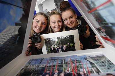 Transition year students Casey Swaine, Caitlin Tucker and Csenge Horvath of CBS Westland Row at the launch of photographic exhabition titled 'Docklands Story Walks'. Picture Conor McCabe Photography.