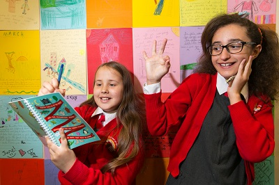 A&L Goodbody and Business to Arts Writer in Residence at St Joseph's Co-ed Primary School in East Wall with Catherine Ann Cullen. Pictured are Alisa Usacova and Alesia Tuca both aged 9. Picture by Shane O'Neill, SON Photographic