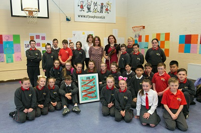 A&L Goodbody and Business to Arts Writer in Residence at St Joseph's Co-ed Primary School in East Wall with Catherine Ann Cullen. Picture by Shane O'Neill, SON Photographic