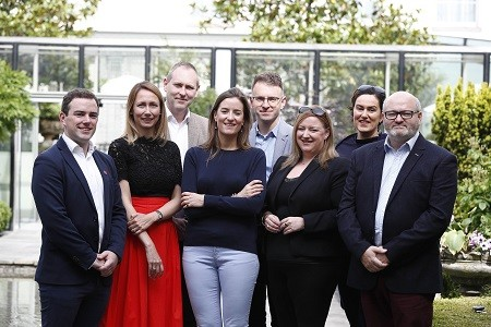 2018 Judging Panel: Feargal Hynes, Natasha McKenna, Robert McEvoy, Lesley Tully, Dearbhail McDonald, Davina Saint, Paul O'Kane. Also pictured, Andrew Hetherington, Chief Executive, Business to Arts