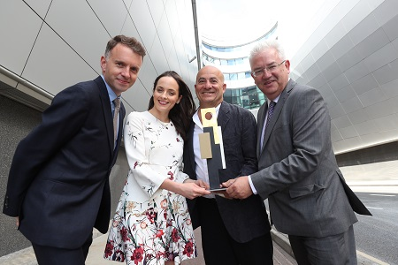 Andrew Hetherington, CEO, Business to Arts, Helen Carroll, Head of Communications & Partnerships, Business to Arts with Dublin based artist Ed Miliano, and Vincent Harrison, Managing Director, Dublin Airport for the announcement of the 2018 Allianz Business to Arts Awards commissioned awards sculpture. Picture Robbie Reynolds