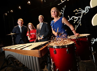 No Repro Fee Andrew Hetherington, Business to Arts CEO (left) with Aibhlínn Doheny, Music Generation Student from Portlaoise who are currently participating in Music Generation's national programme, now in its 8th year, Sean McGrath, Allianz CEO and Rosaleen Molloy, Music Generation National Director (right), pictured together at the announcement of U2 & The Ireland Funds with supporters Bank of America and the Stavros Niarchos Foundation as winners of the Best Long-Term Partnership for 'Music Generation' at the 2018 Allianz Business to Arts Awards.' Pic. Robbie Reynolds