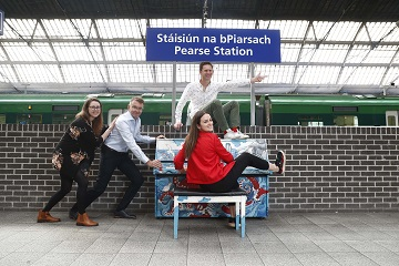 *** NO REPRODUCTION FEE *** DUBLIN : 19/9/2018 : Tamar Keane, Smashing Times Theatre Company, Andrew Hetherington, Chief Executive, Business to Arts, Artist Fergal McCarthy and pianist Máire Carroll at the Pearse Street Piano for the announcement of the recipients of the 2018 Small Grants Scheme under the Docklands Arts Fund. To learn more see www.businesstoarts.ie/artsfund' . Picture Conor McCabe Photography. MEDIA CONTACT : helen@businesstoarts.ie
