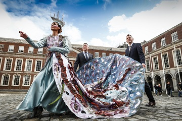 THE 2019 ALLIANZ BUSINESS TO ARTS AWARDS SET SAIL : Launching the 2019 Allianz Business to Arts Awards, Sean McGrath, CEO, Allianz; Andrew Hetherington , Chief Executive, Business to Arts and Victoria Mc Cormack, Macnas at Dublin Castle. The awards take place on September 3rd at Bord Gáis Energy Theatre and celebrate creative partnerships including sponsorships, commissioning, staff and community engagement between the arts and business across Ireland. The deadline for applications is May 1st. For more detail see businesstoarts.ie Picture Conor McCabe Photography.