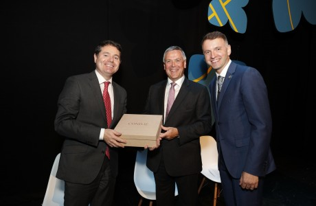 Minister Paschal Donohoe TD, Sean McGrath, CEO, Allianz Ireland and Andrew Hetherington, CEO, Business to Arts at the 2017 Allianz Business to Arts Awards at the Bord Gáis Energy Theatre