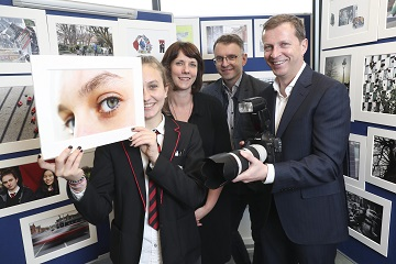 Pictured was Garry Ferguson, Managing Partner, Walkers, Walkers photographer in Residence, Kate Nolan and Andrew Hetherington, Chief Executive, Business to Arts with transition year student XXX of CBS Westland Row at the launch of photographic exhibition titled 'Docklands Story Walks'. The exhibition is part of CBS Westland Row's engagement with Kate Nolan, Walkers Photographer in Residence under the Docklands Arts Fund. The students' project work was exhibited at the Walkers offices alongside Walkers staff photography, showcasing the development of their photographic skills together. See businesstoarts.ie for further details.