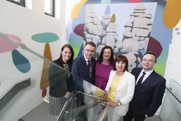 Pictured (l-r) at the announcement of the businesses taking part in the match-funded Artist in Residence (AR) Programme with Creative Ireland's National Creativity Fund and Business to Arts were Andrew Hetherington, Chief Executive, Business to Arts and Minister Josepha Madigan T.D with business participants Emmet Scully, Managing Partner, LK Shields, Adrienne Harrington, Chief Executive, The Ludgate Hub and Martina Westphal, Director of Community & Social, BHP Community beside artist James Kirwan's installation, Portal to a Vague Place.