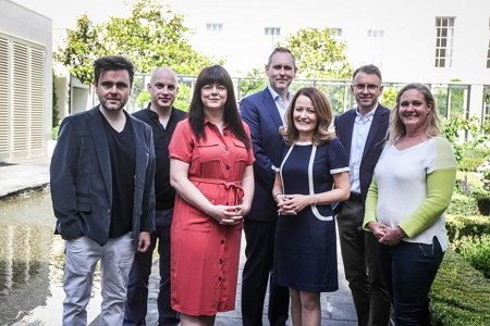 2019 Judging Panel: (from left) Gerard McNaughton, TileStyle; Donal O'Donovan, Independent News & Media; Antonia McTaggart, Facebook; Robert McEvoy, Allianz Ireland; Rachel Hussey, Arthur Cox; Petal Pilley, Blue Teapot Theatre Company. Also pictured, Andrew Hetherington, Chief Executive, Business to Arts