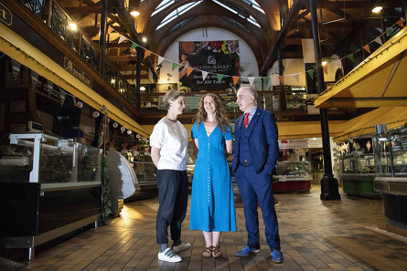 Rebecca Harte of The Farmgate Cafe, Patrick Cotter of Munster Literature Centre with winner of the inaugural prize 'The Farmgate Cafe's National Poetry Award' Cork poet Leanne O'Sullivan pictured in the English Market.  Picture: Clare Keogh