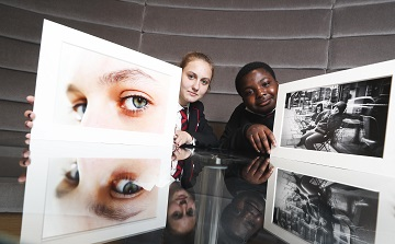 *** NO REPRODUCTION FEE *** DUBLIN : 30/5/2019 : Pictured was transition year students Genoveva Nemes (age 16) and Ademola Oke-Eko (age 15) of CBS Westland Row with their projects at the launch of photographic exhibition titled 'Docklands Story Walks'. The exhibition is part of CBS Westland Row's engagement with Kate Nolan, Walkers Photographer in Residence under the Docklands Arts Fund. The students' project work was exhibited at the Walkers offices alongside Walkers staff photography, showcasing the development of their photographic skills together. See businesstoarts.ie for further details. Picture Conor McCabe Photography. MEDIA CONTACT : helen@businesstoarts.ie