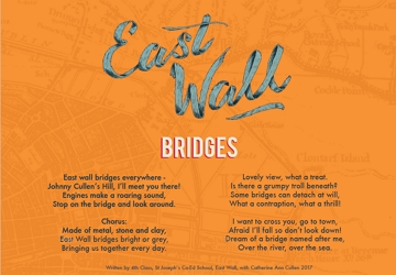 'East Wall Bridges' Written by 4th Class, St Joseph's Co-Ed Primary School, East Wall with Catherine Ann Cullen, 2017. Illustration: Holly Pereira.