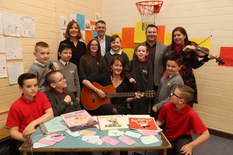 Catherine Ann Cullen with students from St Joseph's Co-Ed Primary School in East Wall with Sinéad Smith, Head of Corporate Responsibility, A&L Goodbody, Andrew Hetherington, Chief Executive, Business to Arts, Niall Heneghan, Principal, St Joseph's Co-Ed Primary School, and Imogen Gunner, musician, 2019. Picture: Jason Clarke Photography.