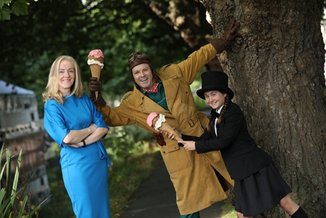Pictured are Louis Lovett and Lola Metcalfe from Theatre Lovett, one of the groups to receive funding, along with Bank of Ireland Interim Chief Marketing Officer Laura Lynch. Theatre Lovett is one of the leading companies in Ireland making theatre for all ages.